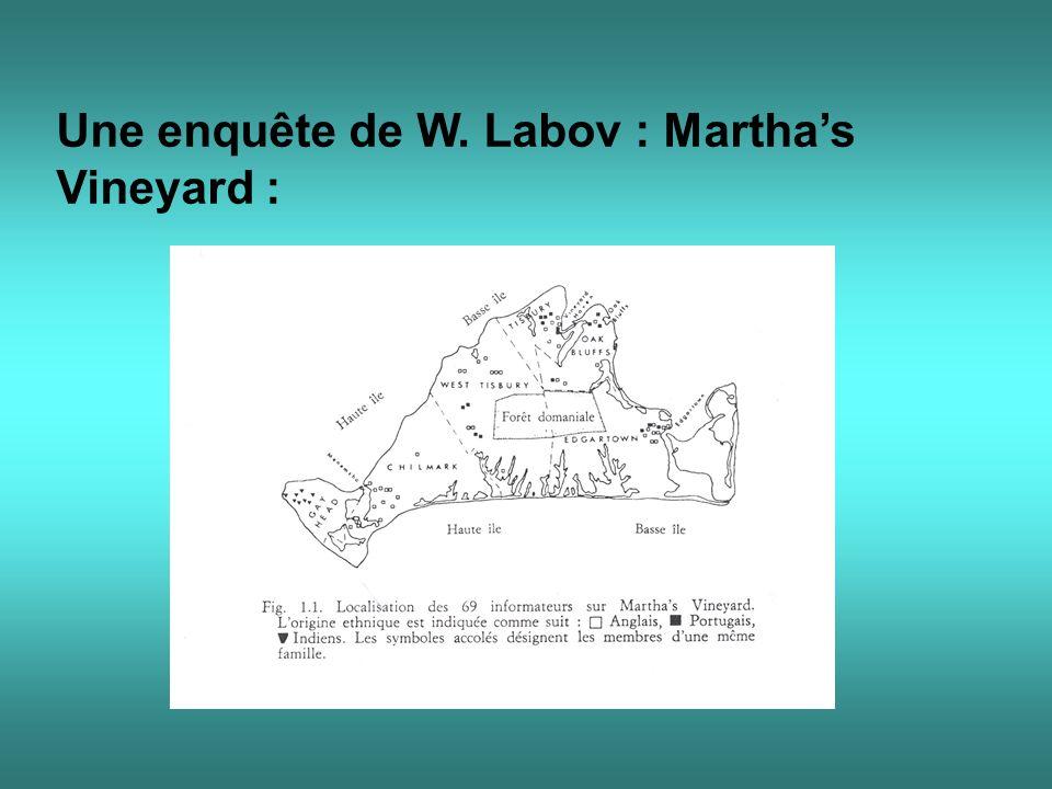 Une enquête de W. Labov : Martha's Vineyard :