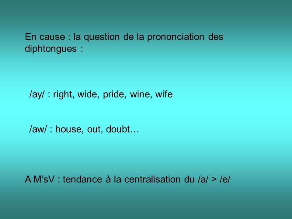 En cause : la question de la prononciation des diphtongues :
