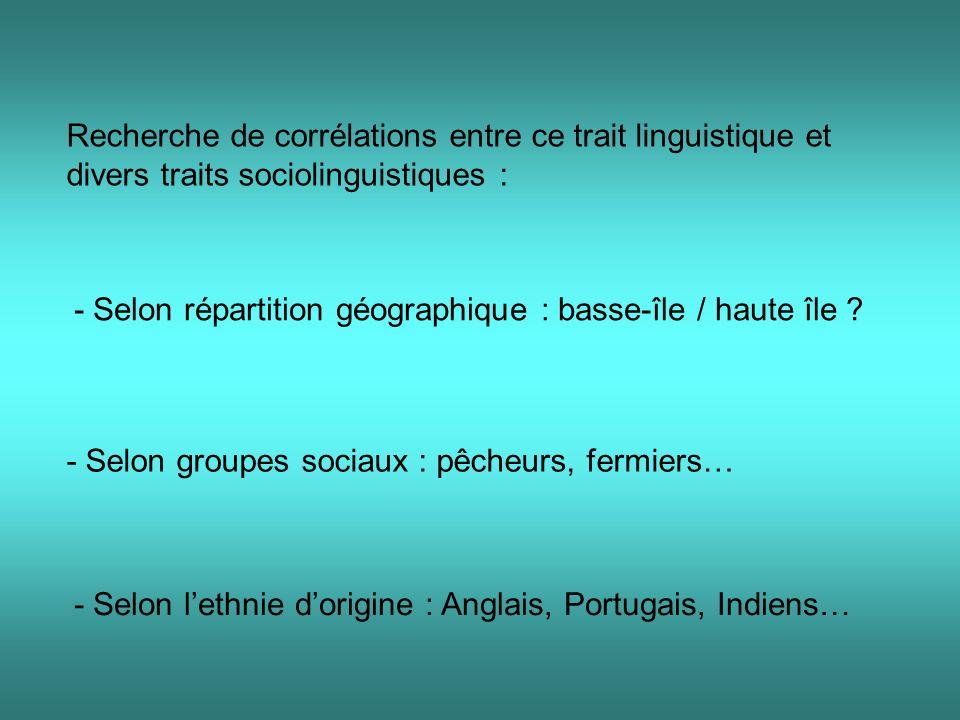 Recherche de corrélations entre ce trait linguistique et divers traits sociolinguistiques :