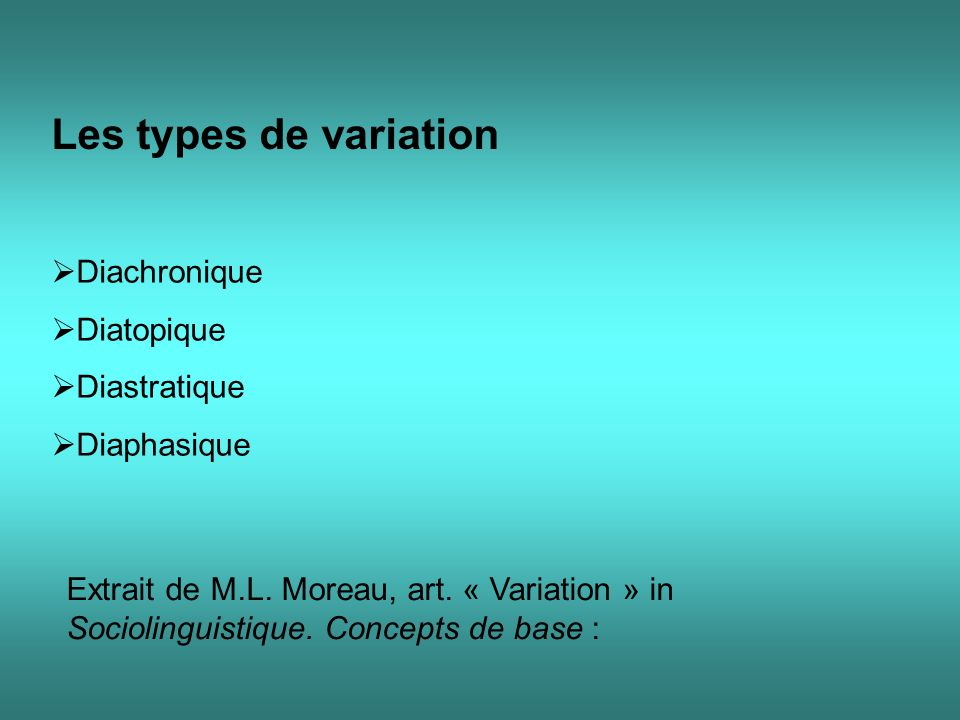 Les types de variation Diachronique Diatopique Diastratique