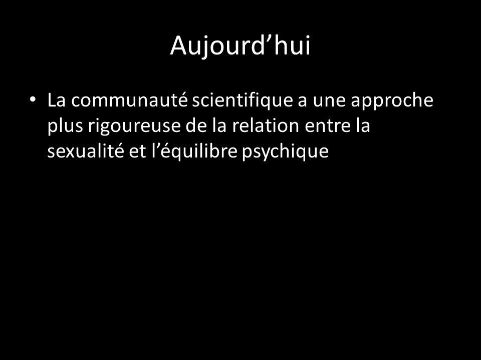 Aujourd'hui La communauté scientifique a une approche plus rigoureuse de la relation entre la sexualité et l'équilibre psychique.