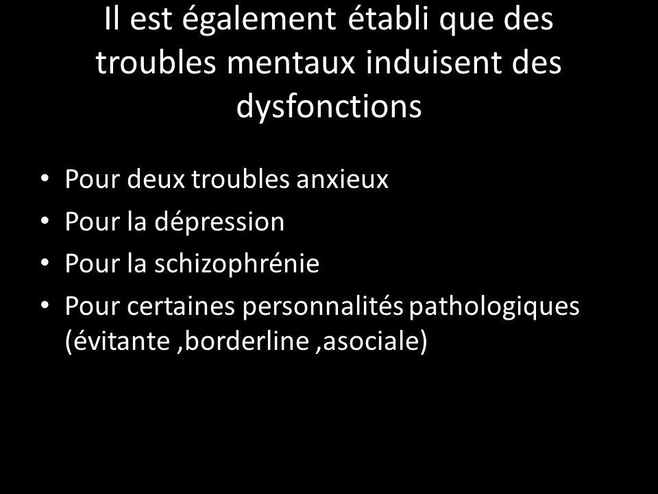 Il est également établi que des troubles mentaux induisent des dysfonctions