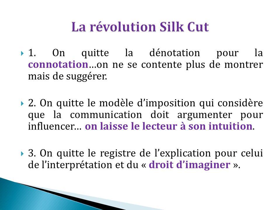 La révolution Silk Cut 1. On quitte la dénotation pour la connotation…on ne se contente plus de montrer mais de suggérer.