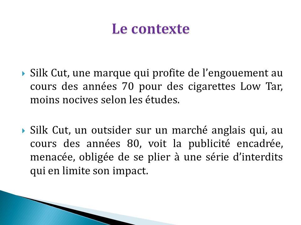 Le contexte Silk Cut, une marque qui profite de l'engouement au cours des années 70 pour des cigarettes Low Tar, moins nocives selon les études.