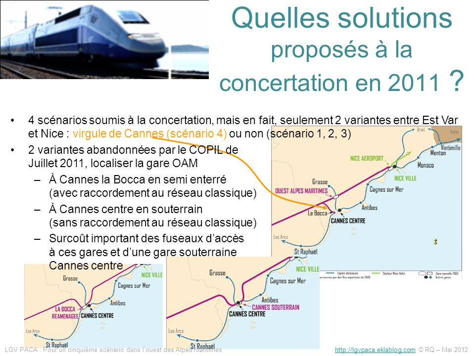 Quelles solutions proposés à la concertation en 2011