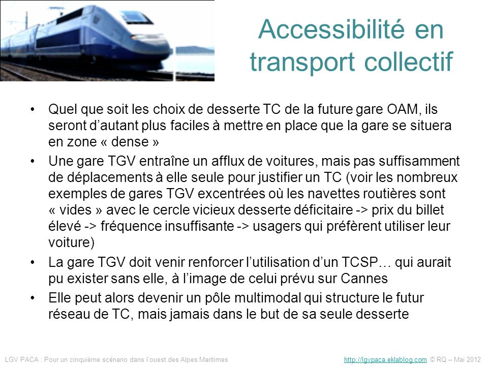 Accessibilité en transport collectif