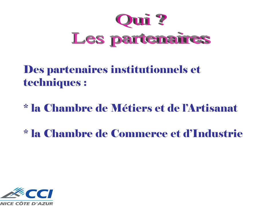 Qui Les partenaires Des partenaires institutionnels et techniques :