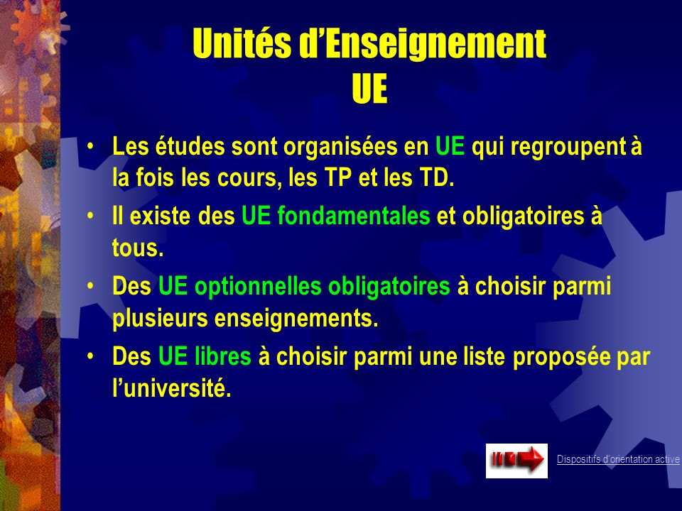 Unités d'Enseignement UE
