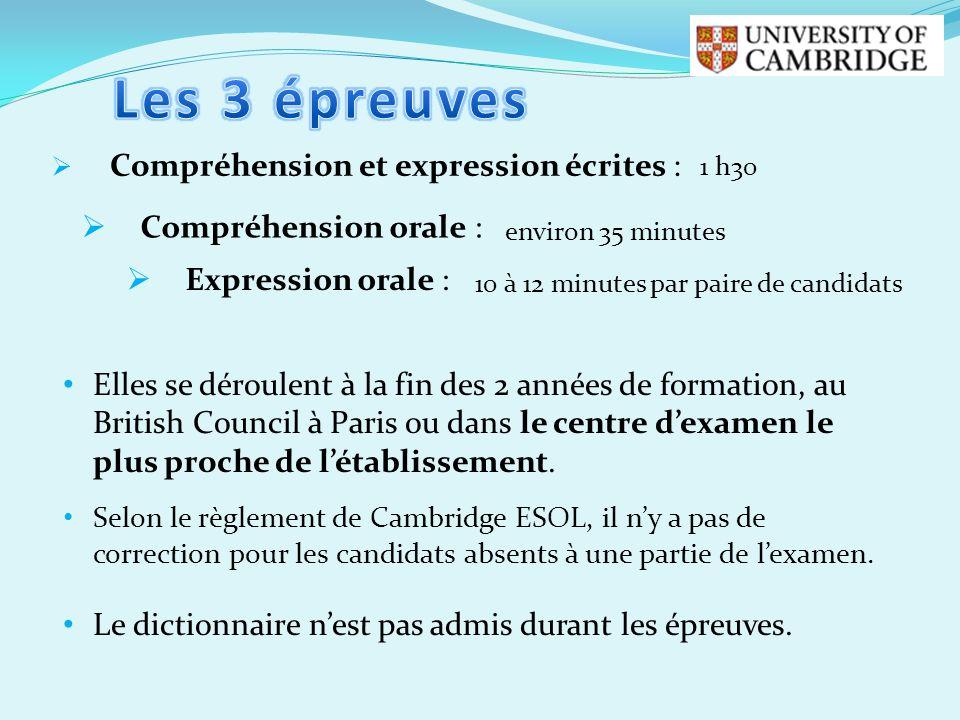 Les 3 épreuves Compréhension et expression écrites :