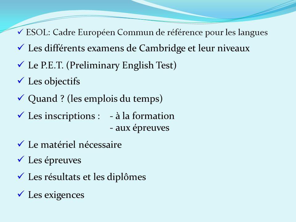 Les différents examens de Cambridge et leur niveaux