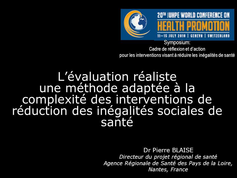 Symposium: Cadre de réflexion et d'action. pour les interventions visant à réduire les inégalités de santé.