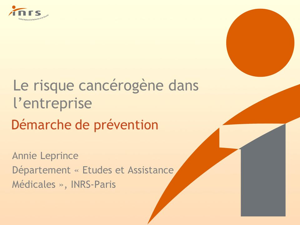 Le risque cancérogène dans l'entreprise