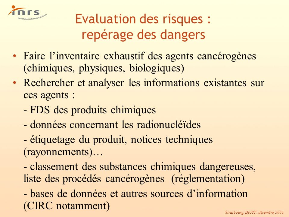 Evaluation des risques : repérage des dangers