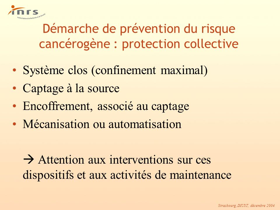 Démarche de prévention du risque cancérogène : protection collective