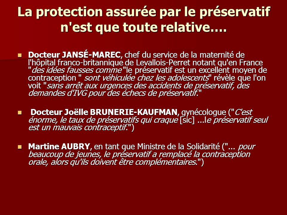 La protection assurée par le préservatif n est que toute relative….