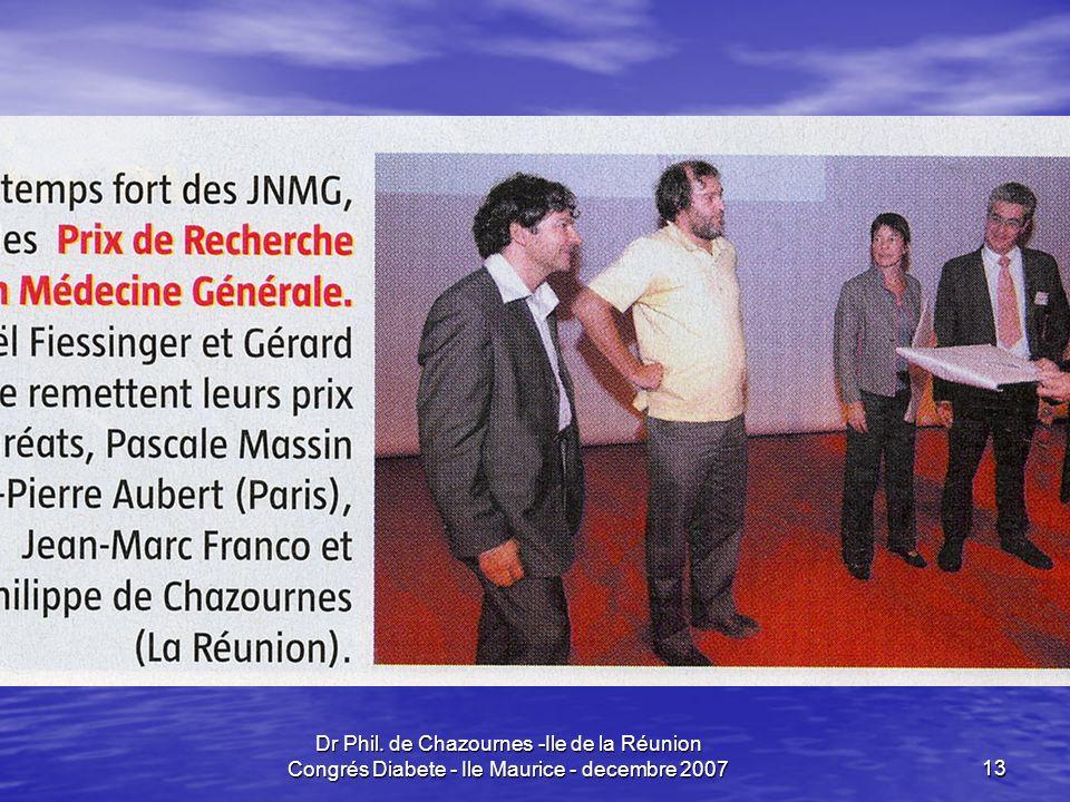Dr Phil. de Chazournes -Ile de la Réunion Congrés Diabete - Ile Maurice - decembre 2007