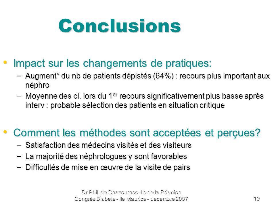 Conclusions Impact sur les changements de pratiques: