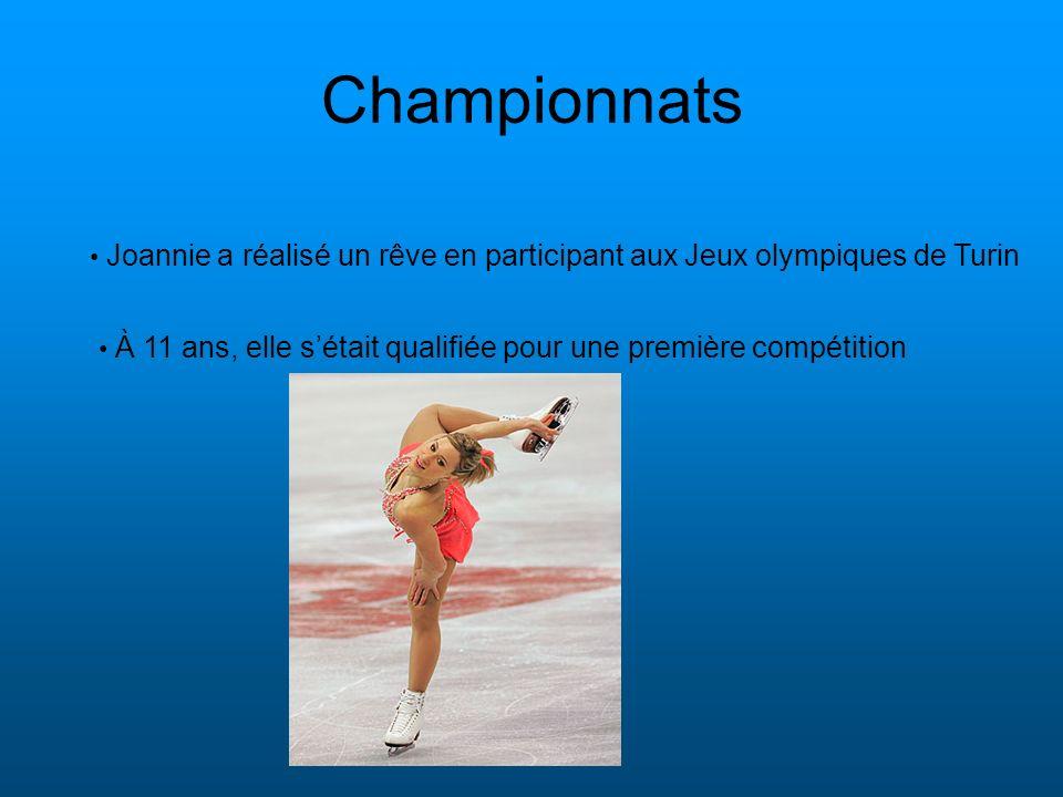 Championnats Joannie a réalisé un rêve en participant aux Jeux olympiques de Turin.