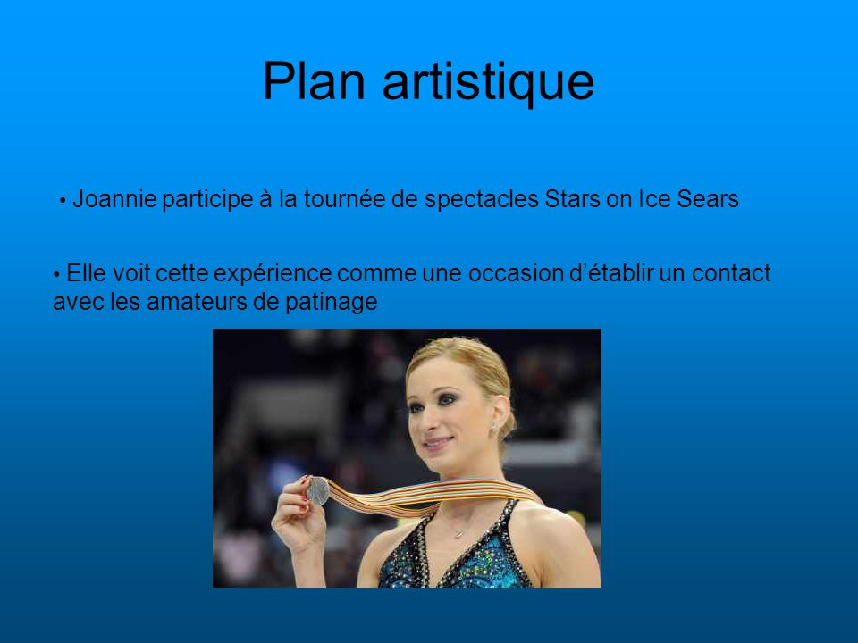 Plan artistique Joannie participe à la tournée de spectacles Stars on Ice Sears.