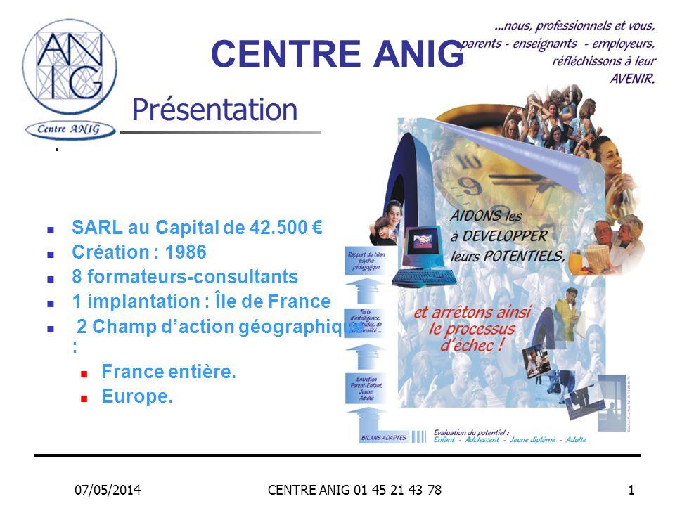 CENTRE ANIG Présentation SARL au Capital de 42.500 € Création : 1986