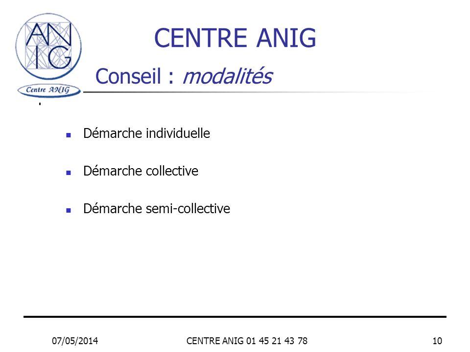 CENTRE ANIG Conseil : modalités Démarche individuelle