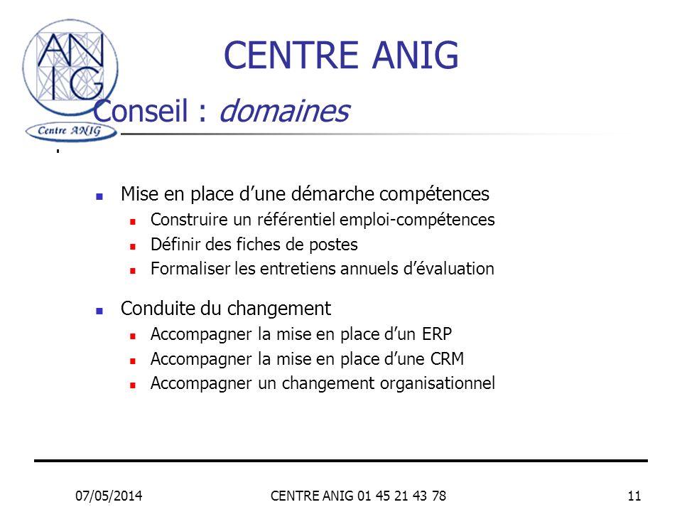 CENTRE ANIG Conseil : domaines