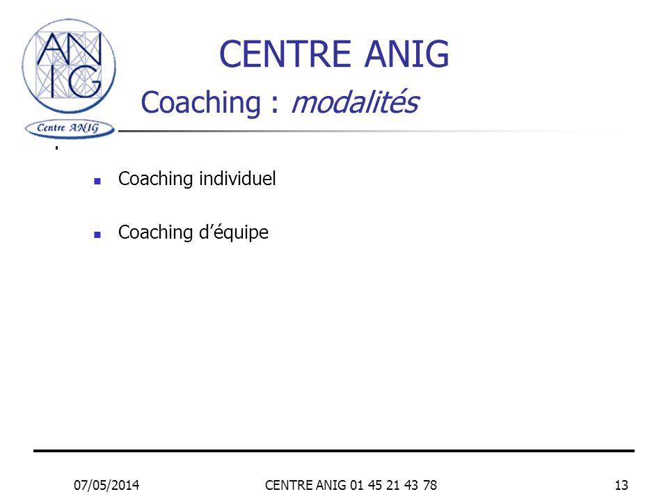 CENTRE ANIG Coaching : modalités Coaching individuel Coaching d'équipe