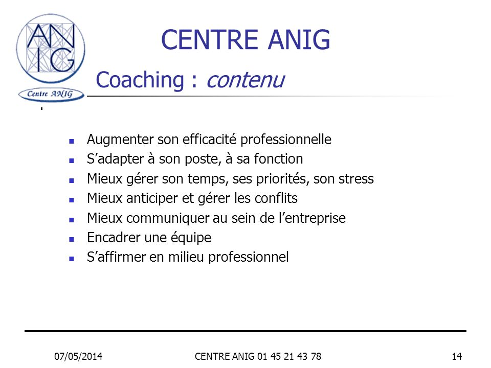 CENTRE ANIG Coaching : contenu