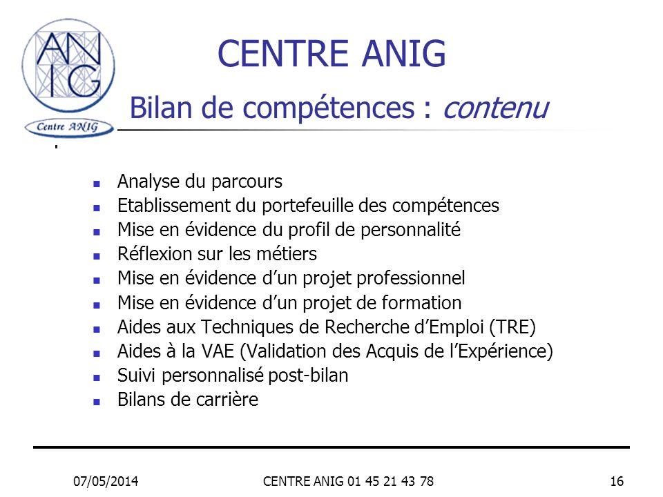 Bilan de compétences : contenu