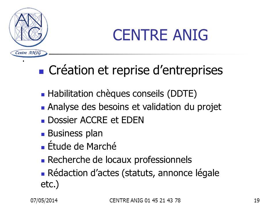 CENTRE ANIG Création et reprise d'entreprises