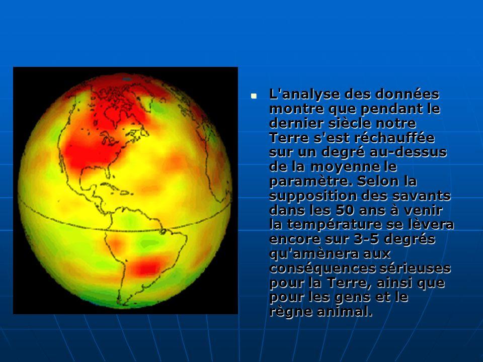 L analyse des données montre que pendant le dernier siècle notre Terre s est réchauffée sur un degré au-dessus de la moyenne le paramètre.