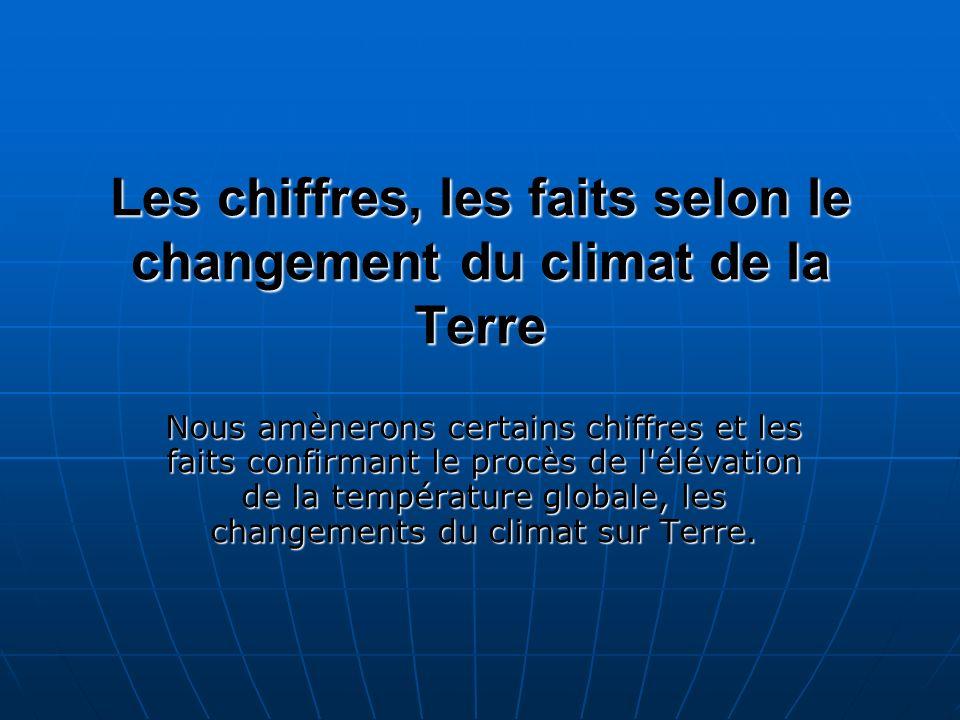 Les chiffres, les faits selon le changement du climat de la Terre