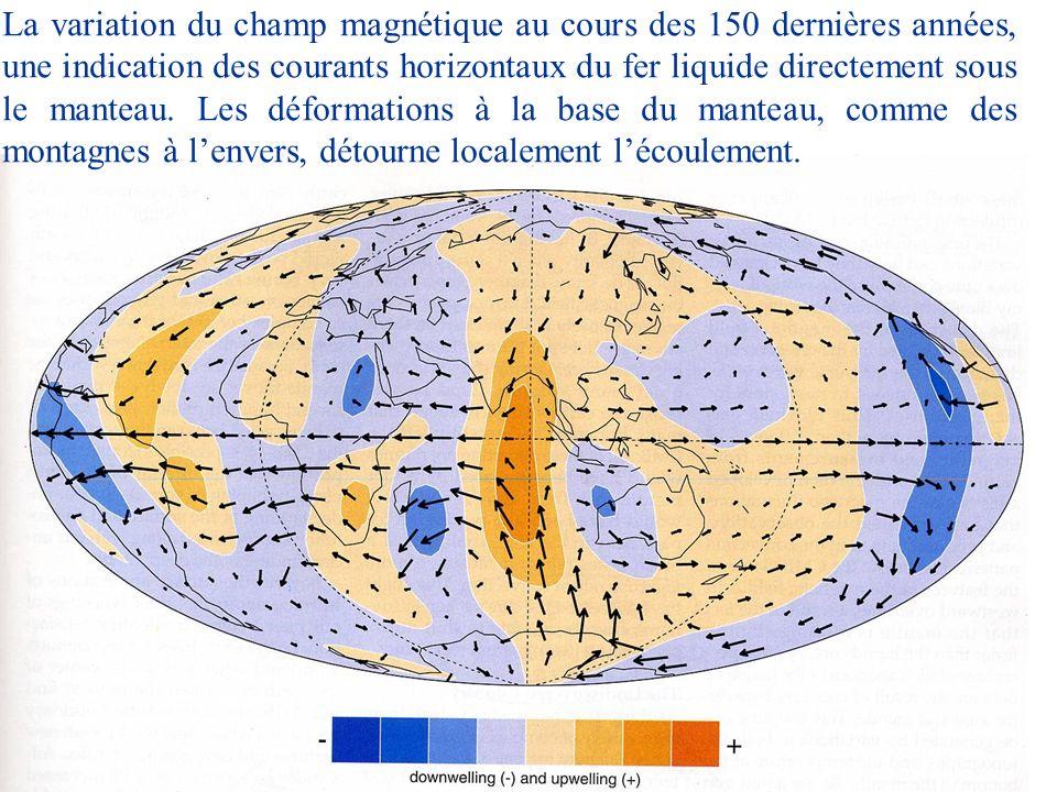 La variation du champ magnétique au cours des 150 dernières années, une indication des courants horizontaux du fer liquide directement sous le manteau. Les déformations à la base du manteau, comme des montagnes à l'envers, détourne localement l'écoulement.