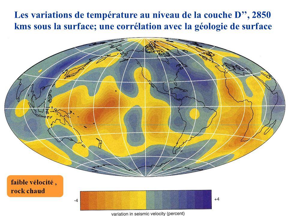 Les variations de température au niveau de la couche D'', 2850 kms sous la surface; une corrélation avec la géologie de surface