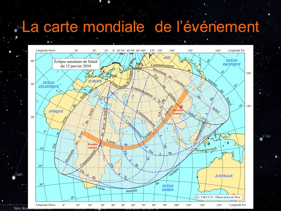 La carte mondiale de l'événement