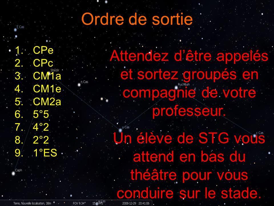 Ordre de sortie CPe. CPc. CM1a. CM1e. CM2a. 5°5. 4°2. 2°2. 1°ES. Attendez d'être appelés et sortez groupés en compagnie de votre professeur.