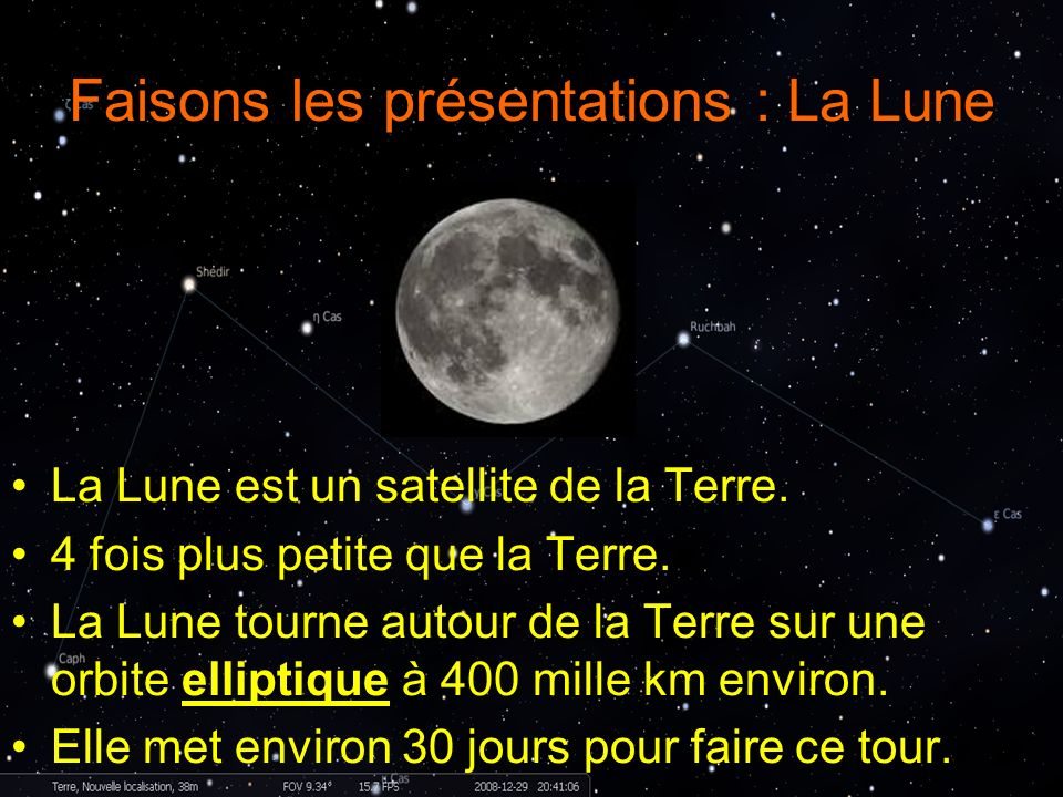 Faisons les présentations : La Lune