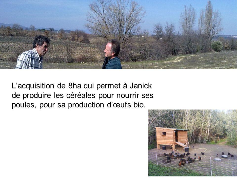 L acquisition de 8ha qui permet à Janick de produire les céréales pour nourrir ses poules, pour sa production d'œufs bio.