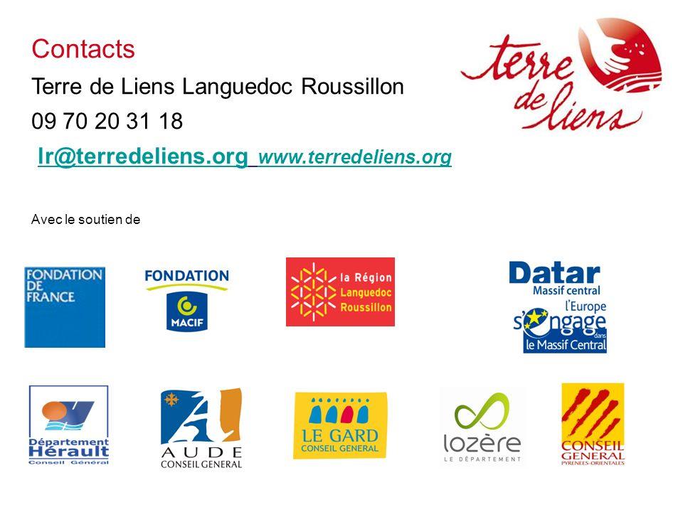 Contacts Terre de Liens Languedoc Roussillon 09 70 20 31 18