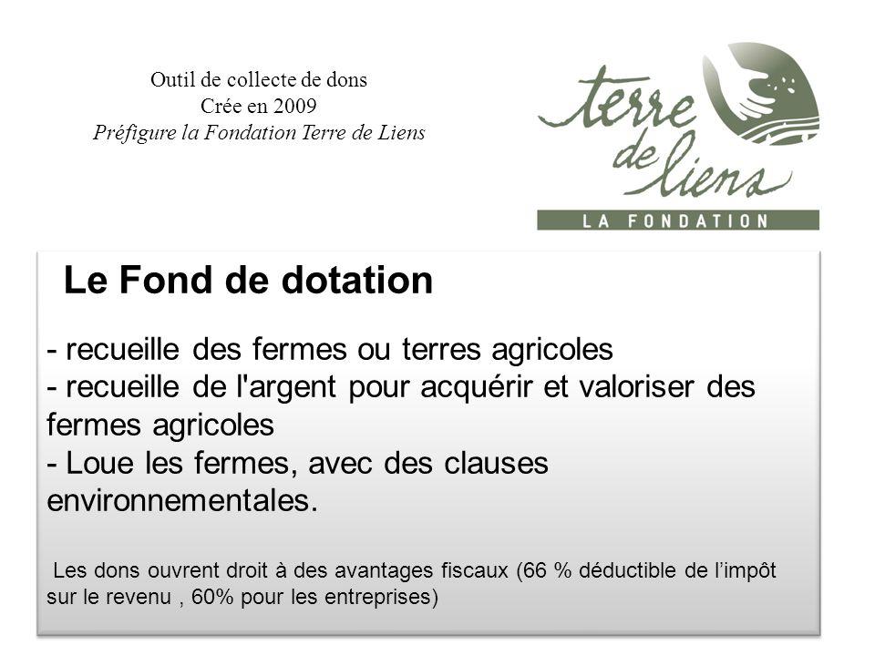 Le Fond de dotation - recueille des fermes ou terres agricoles