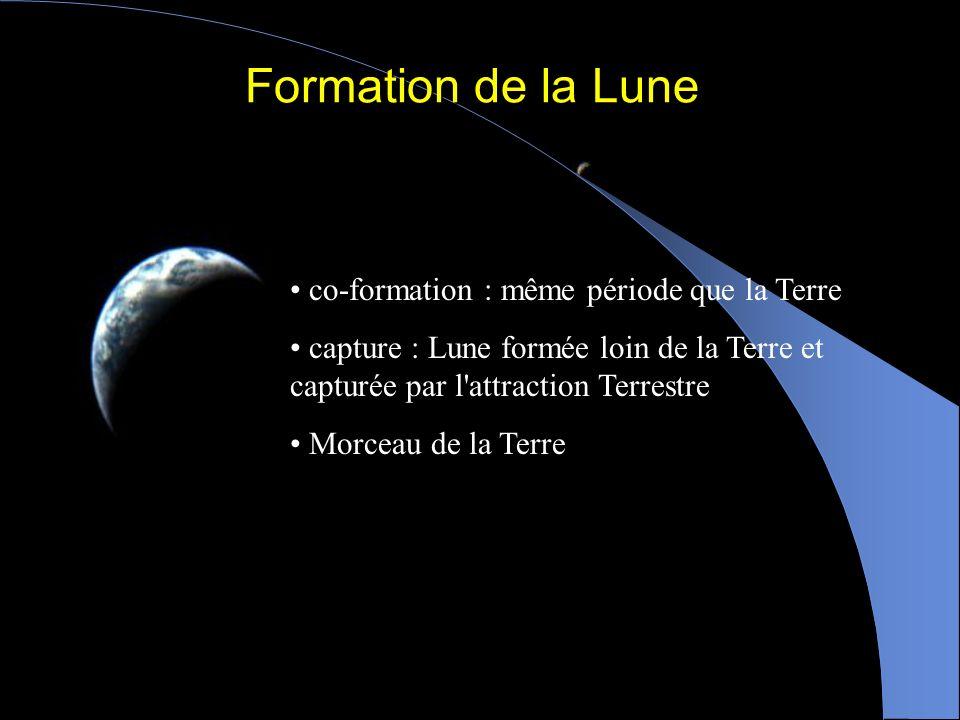 Formation de la Lune co-formation : même période que la Terre