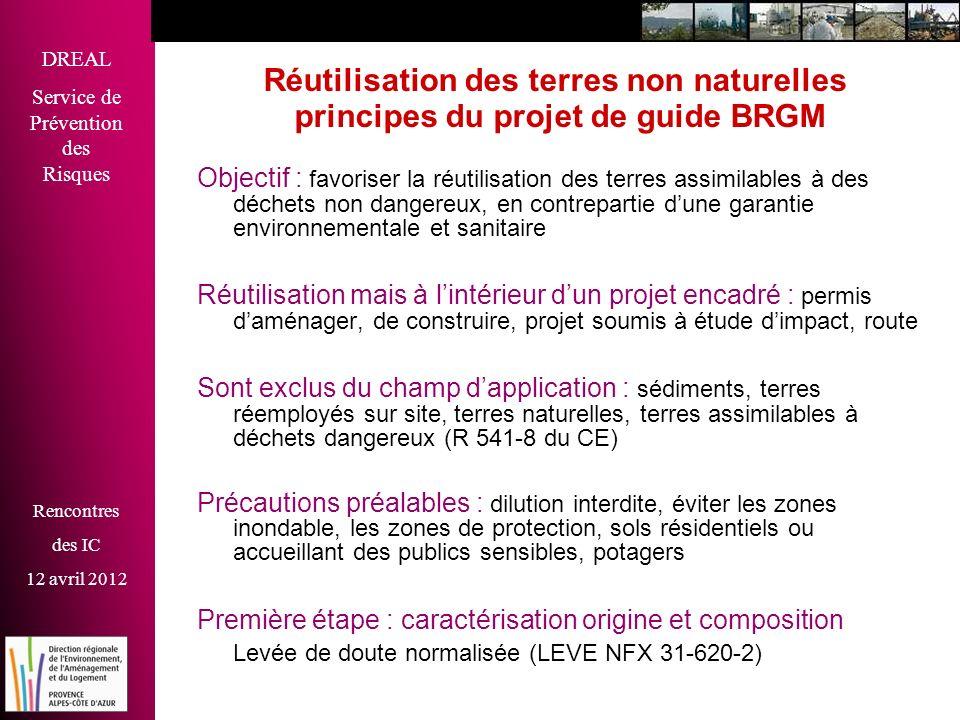 Réutilisation des terres non naturelles principes du projet de guide BRGM
