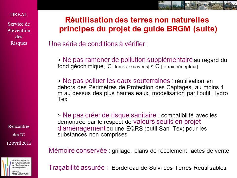 Réutilisation des terres non naturelles principes du projet de guide BRGM (suite)
