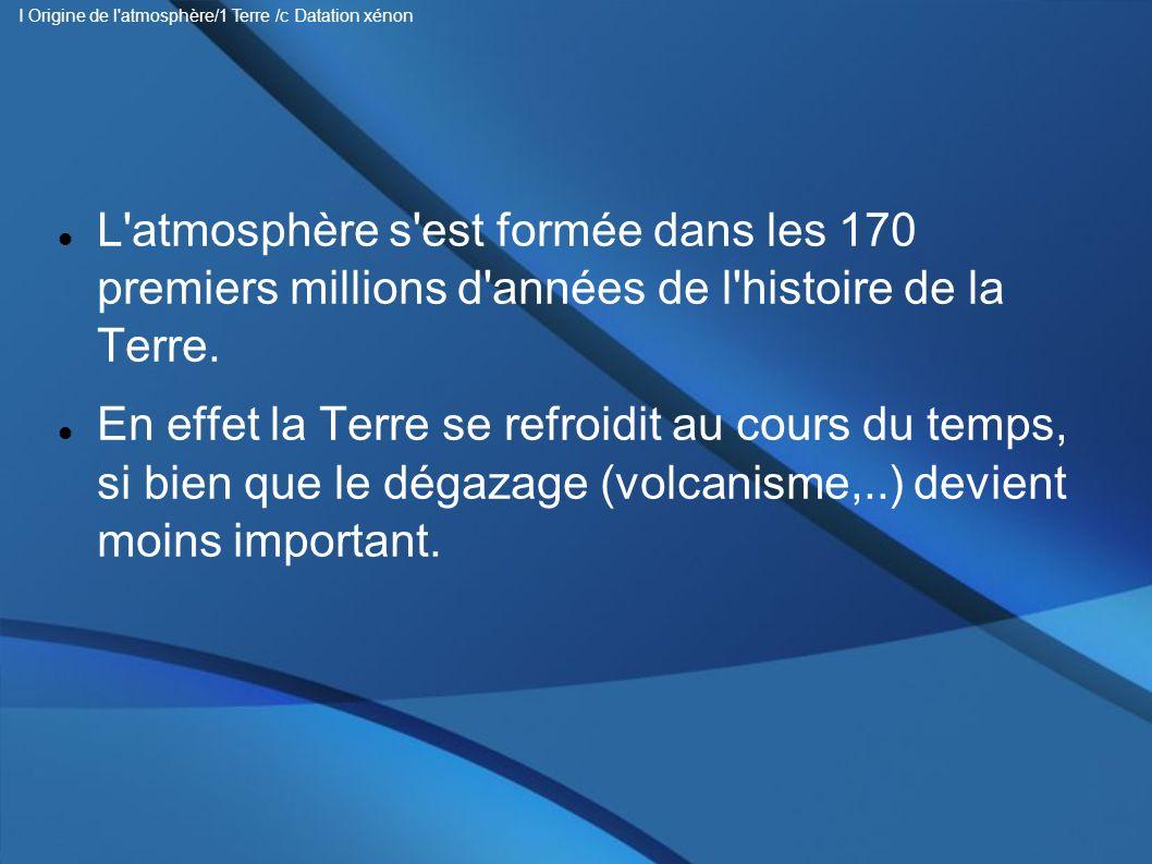 I Origine de l atmosphère/1 Terre /c Datation xénon
