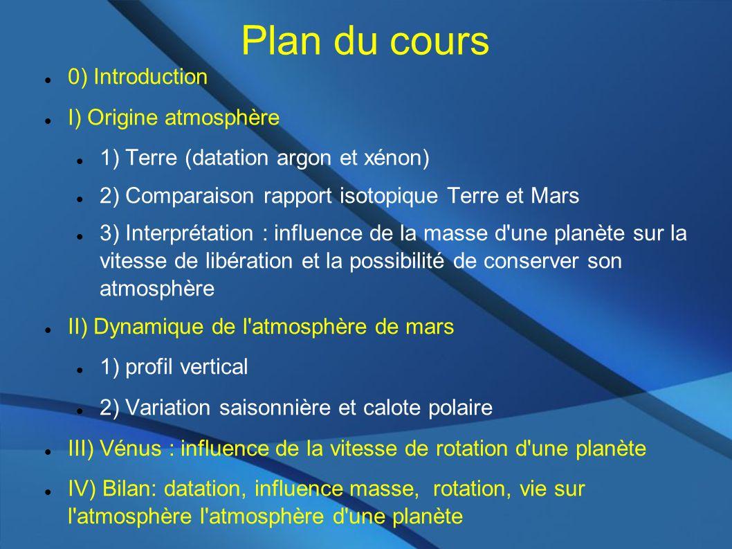 Plan du cours 0) Introduction I) Origine atmosphère