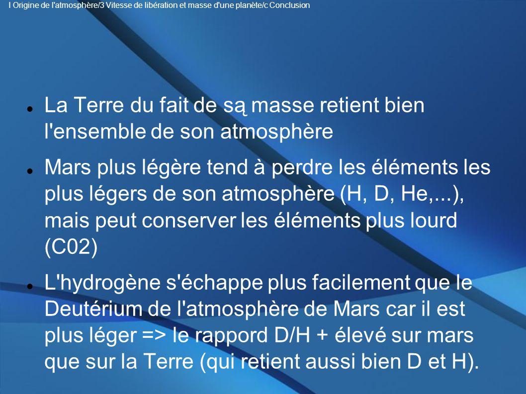 La Terre du fait de są masse retient bien l ensemble de son atmosphère