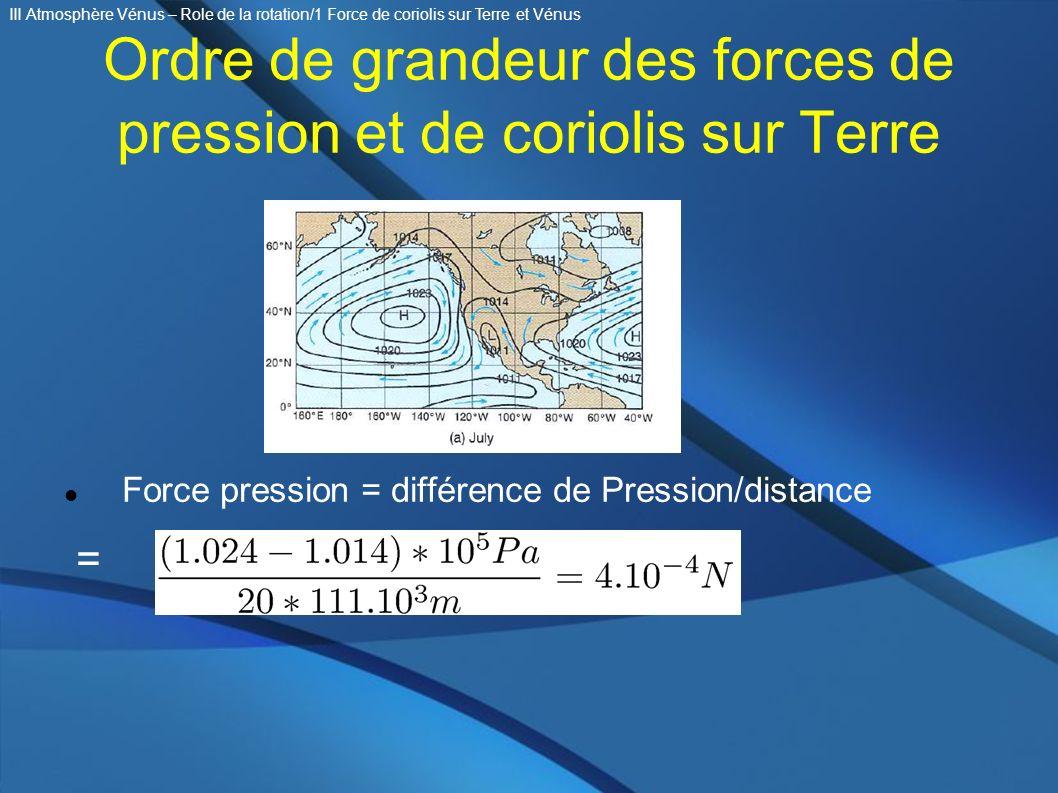 Ordre de grandeur des forces de pression et de coriolis sur Terre