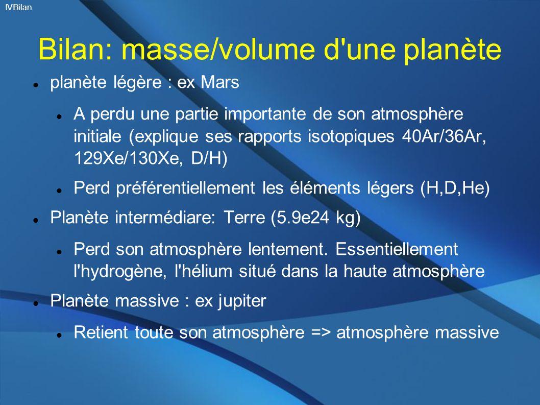 Bilan: masse/volume d une planète