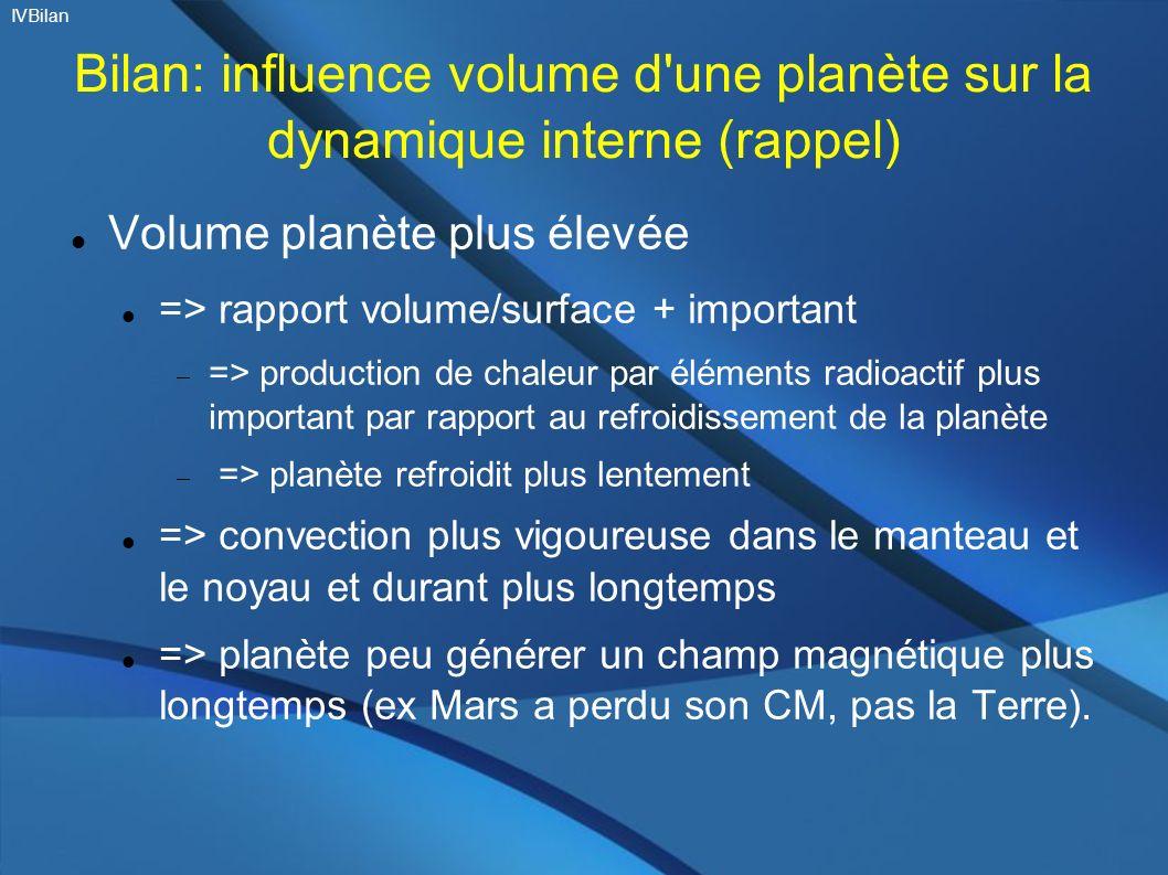 IVBilan Bilan: influence volume d une planète sur la dynamique interne (rappel) Volume planète plus élevée.