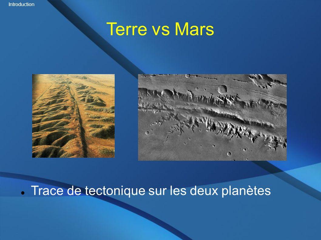 Introduction Terre vs Mars Trace de tectonique sur les deux planètes